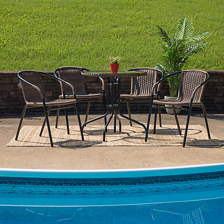 28 in. Round Glass Metal Table with Rattan Edging and 4 Rattan Stack Chairs