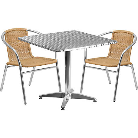 31. 5 in. Square Aluminum Indoor/Outdoor Table Set with 2 Rattan Chairs