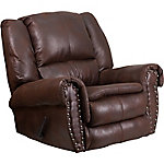 Contemporary Breathable Comfort Padre Fabric Rocker Recliner with Brass Accent Nails
