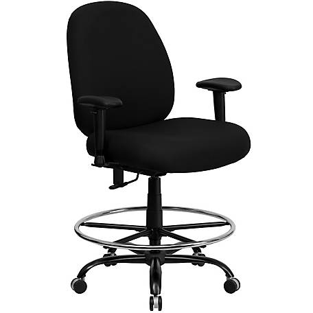HERCULES Series Big & Tall 400 lb. Rated Black Drafting Chair with Adjustable Arms
