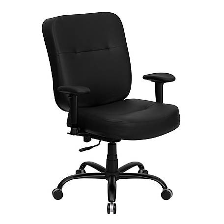 HERCULES Series Big & Tall 400 lb. Rated Leather Swivel Chair with Adjustable Arms