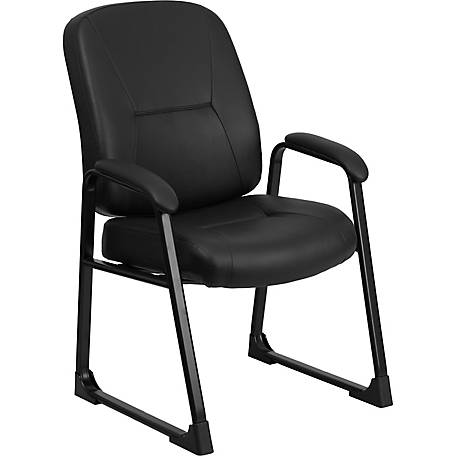 HERCULES Series Big & Tall 400 lb. Rated Black Leather Executive Side Chair with Sled Base