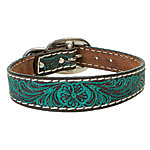 Weaver Leather Carved Turquoise Flower Dog Collar