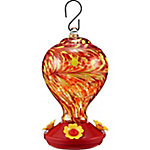 Royal Wing Speckled Base Blown Glass Hummingbird Feeder