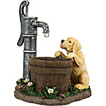 Red Shed Water Pump and Puppy Planter with Solar Powered Light