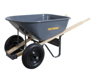 True Temper Ames 6 cu. ft. Dual Wheelbarrow with Steel Tray and Wood Handle, 27 x 25 x 60 in., R6TW14