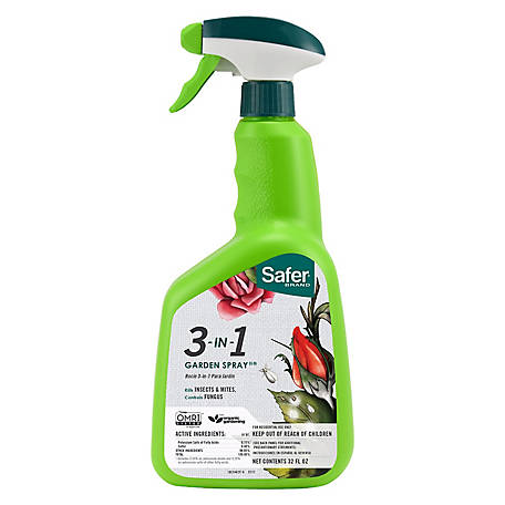 Safer Brand 3-in-1 Garden Insecticide & Fungicide, Organic, Ready To Use Spray, 32 oz., 5452-6