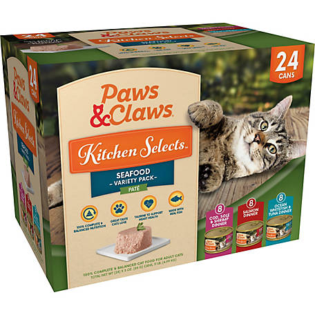 Paws & Claws Kitchen Selects Gourmet Seafood Variety Pack, 3 oz. Can, Pack of 24