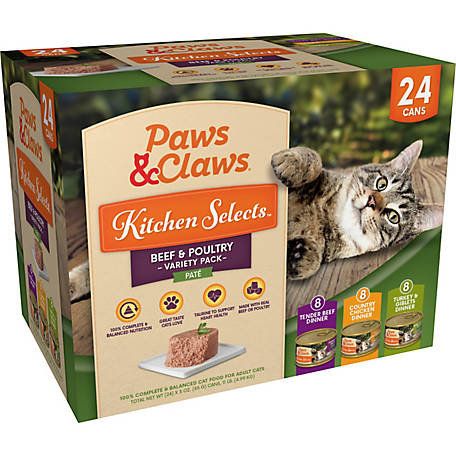 Paws & Claws Kitchen Selects Gourmet Beef & Poultry Variety Pack, 3 oz. Can, Pack of 24