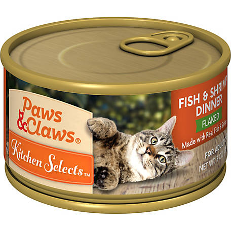Paws & Claws Kitchen Selects Gourmet Flaked Fish & Shrimp Dinner in Gravy, 3 oz. Can