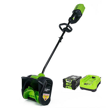 Greenworks GLSS802100 PRO 80V 12 in. Single Stage Snow Shovel with 2Ah Battery and Charger, 2600602