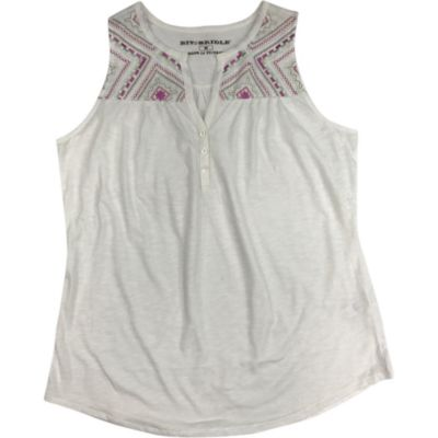 Bit & Bridle Embroidered Knit Henley Tank