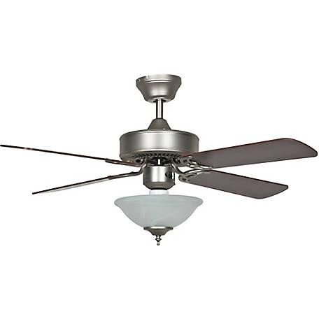 Concord by Luminance 42 in. Heritage Square Ceiling Fan with Bowl Light Kit, Satin Nickel