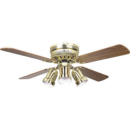 Concord by Luminance 42 in. Hugger Ceiling Fan with 4 Bullet Light Kit, Polished Brass