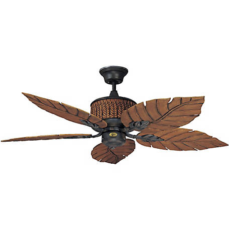 Concord by Luminance 52 in. Fernleaf Breeze Damp Location Ceiling Fan, Rustic Iron