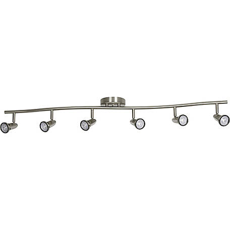 Luminance 44 in. 6HD GU10 LED Ceiling Mount Bar Fixture, Bright Satin Nickel