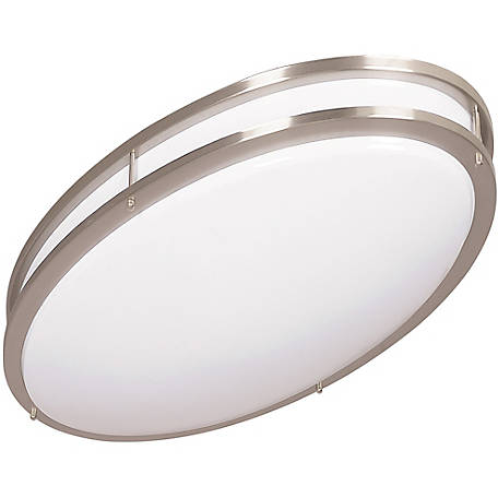 Luminance 2 Light Led Oval Ceiling Light Fixture Mount Bright Satin Nickel F988080 At Tractor Supply Co