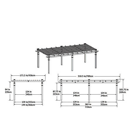 New England Arbors 12 ft. x 24 ft. Regency Grande Pergola