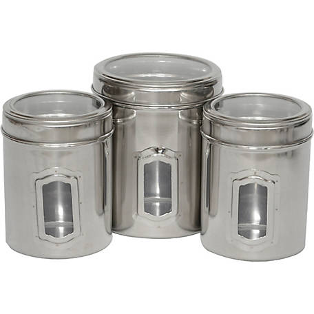 Iconic Pet 51662 3-Piece Pet Food Canisters Set with See-Through Lids, Black