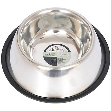 Iconic Pet Stainless Steel Non-Skid Pet Bowl for Dog or Cat, 32 oz./4 cup