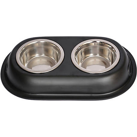 Iconic Pet Color Splash Stainless Steel Double Diner for Dog/Cat, 1 qt./32 oz./4 cup