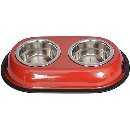 Iconic Pet Color Splash Stainless Steel Double Diner for Dog/Cat, 1/2 pt.8 oz./1 cup