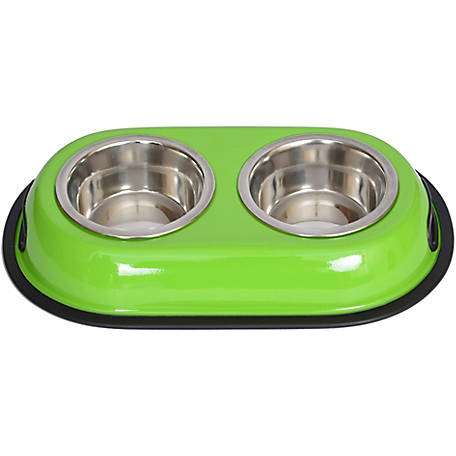 Iconic Pet Color Splash Stainless Steel Double Diner for Dog/Cat, 1 pt.16 oz./2 cup
