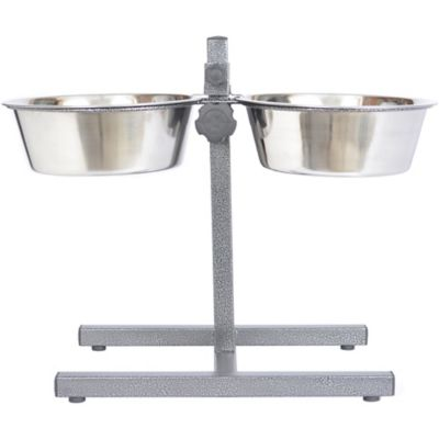 Iconic Pet Adjustable Stainless Steel Pet Double Diner for Dog; 2 qt./64 oz./8 cup