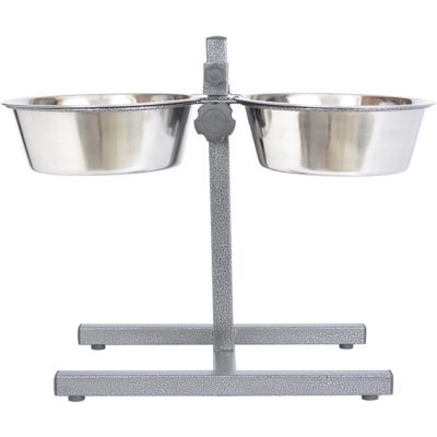 Iconic Pet Adjustable Stainless Steel Pet Double Diner for Dog; 5 qt./160 oz./20 cup