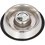 Iconic Pet Slow Feed Stainless Steel Pet Bowl for Dog or Cat, 12 oz.
