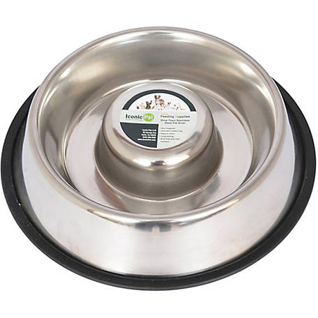 Iconic Pet Slow Feed Stainless Steel Pet Bowl for Dog or Cat, 48 oz.