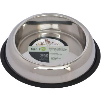 Iconic Pet Heavy Weight Non-Skid Easy Feed High Back Pet Bowl for Dog or Cat; 8 oz./1 cup