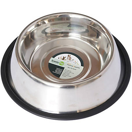 Iconic Pet Heavy Weight Non-Skid Easy Feed High Back Pet Bowl for Dog or Cat, 96 oz./12 cup