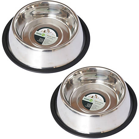 Iconic Pet Stainless Steel Non-Skid Pet Bowl for Dog or Cat, 16 oz./2 cup, Pack of 2