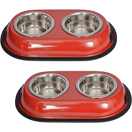 Iconic Pet Color Splash Stainless Steel Double Diner for Dog/Cat, 1/2 pt.8 oz./1 cup, Pack of 2