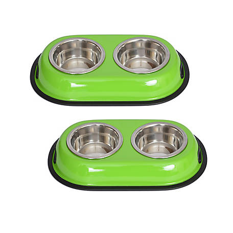 Iconic Pet Color Splash Stainless Steel Double Diner for Dog/Cat, 1 pt.16 oz./2 cup, Pack of 2