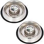 Iconic Pet Slow Feed Stainless Steel Pet Bowl for Dog or Cat, 12 oz., Pack of 2