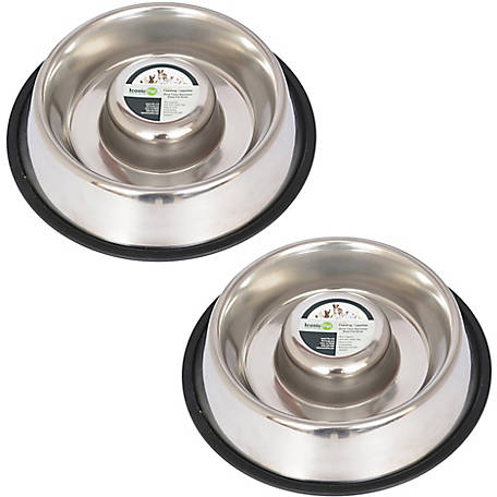 Iconic Pet Slow Feed Stainless Steel Pet Bowl for Dog or Cat, 24 oz., Pack of 2