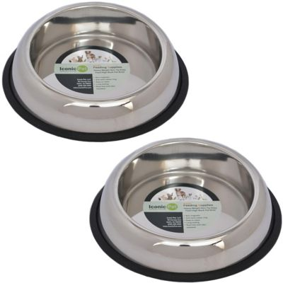 Iconic Pet Heavy Weight Non-Skid Easy Feed High Back Pet Bowl for Dog or Cat; 32 oz./4 cup; Pack of 2