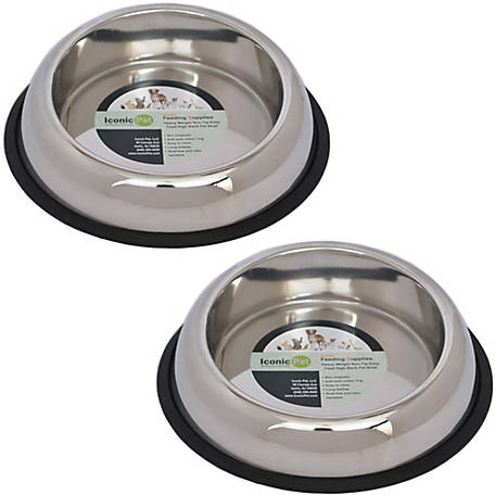 Iconic Pet Heavy Weight Non-Skid Easy Feed High Back Pet Bowl for Dog or Cat, 64 oz./8 cup, Pack of 2