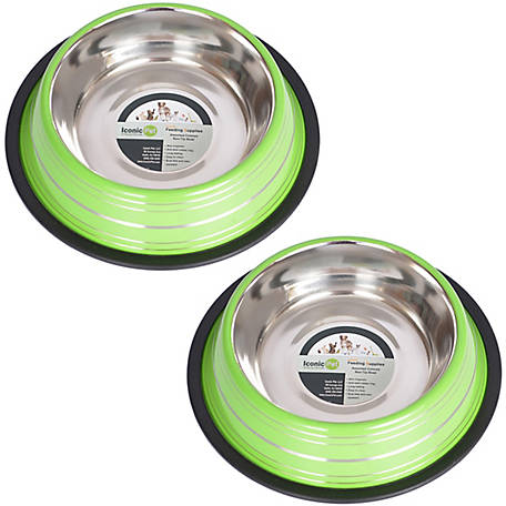 Iconic Pet Color Splash Stripe Non-Skid Pet Bowl, for Dog or Cat, 64 oz./8 cup, Pack of 2
