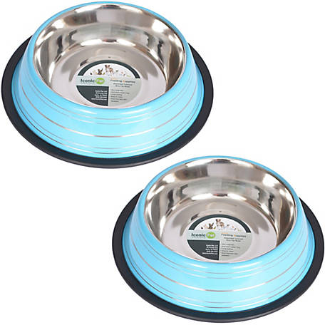 Iconic Pet Color Splash Stripe Non-Skid Pet Bowl, for Dog or Cat, 96 oz./12 cup, Pack of 2