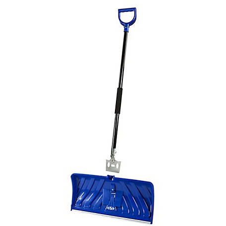 Snow Joe SJEG24 2-in-1 Snow Pusher + Ice Chopper, 24 in., Poly Blade, Blue