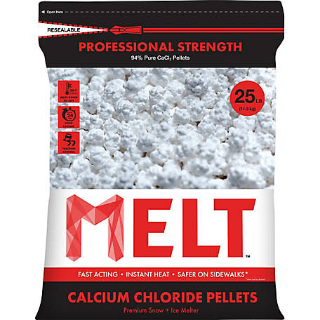 Melt 25 Lb. Resealable Bag Calcium Chloride Pellets Professional Strength Ice Melter