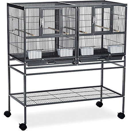 Prevue Pet Products Hampton Deluxe Divided Breeder Cage System with Stand Black Hammertone F070