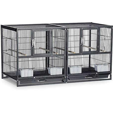 Prevue Pet Products Hampton Deluxe Divided Breeder Cage Black Hammertone F075