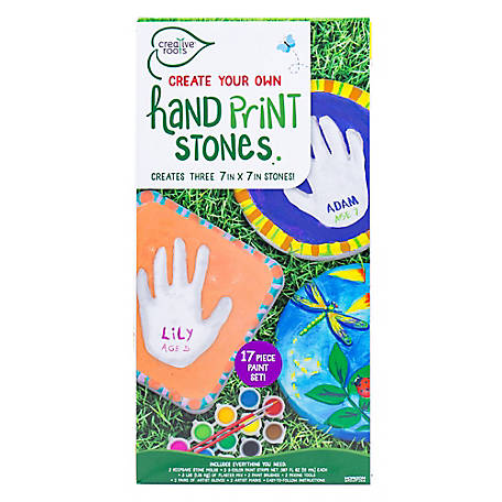 Creative Roots Create-Your-Own 3-Piece Handprint Stone Kit, 82814