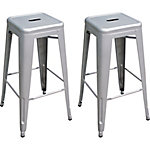 AmeriHome Loft White 30 in. Metal Bar Stool, Pack of 2