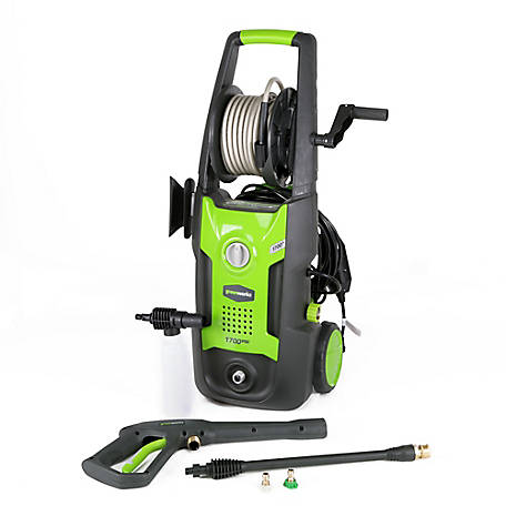 GreenWorks GPW1702 13A 1700 PSI 1.2 GPM Electric Pressure Washer with Hose Reel