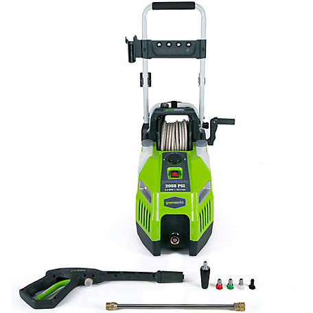 GreenWorks GPW2001 13A 2000 PSI 1.2 GPM Electric Pressure Washer with Hose Reel